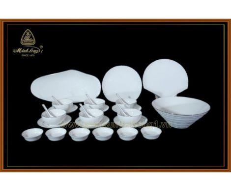 Bộ chén dĩa bàn ăn- Ngọc Biển-Chỉ bạch kim - MNV - 28043