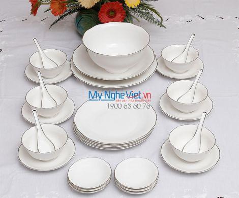 Bộ chén dĩa bàn ăn – Đài Các – Chỉ bạch kim - MNV - 30181
