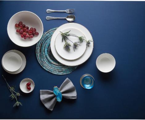 Bộ bàn ăn – Camellia – Viền chỉ vàng - MNV - 481428014
