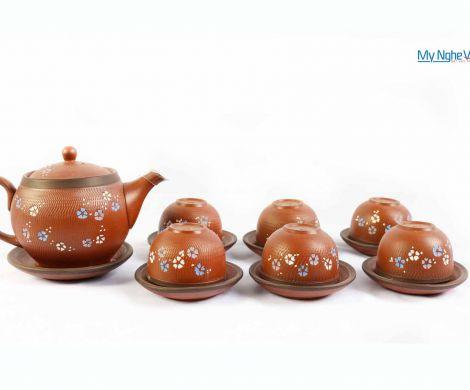 Bộ bình trà ganh thấp hoa MNV-TS076