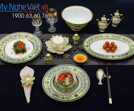 Bộ đồ ăn Hoàng Liên 6 người Châu Á 40 sản phẩm MNV-4006DG460