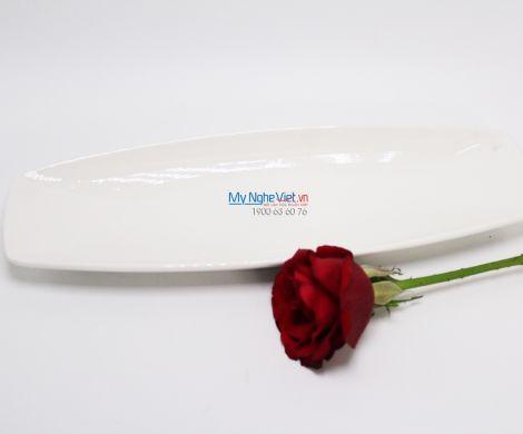 Dĩa oval phẳng 30 x 10 cm trắng ngà - MNV - 433022000