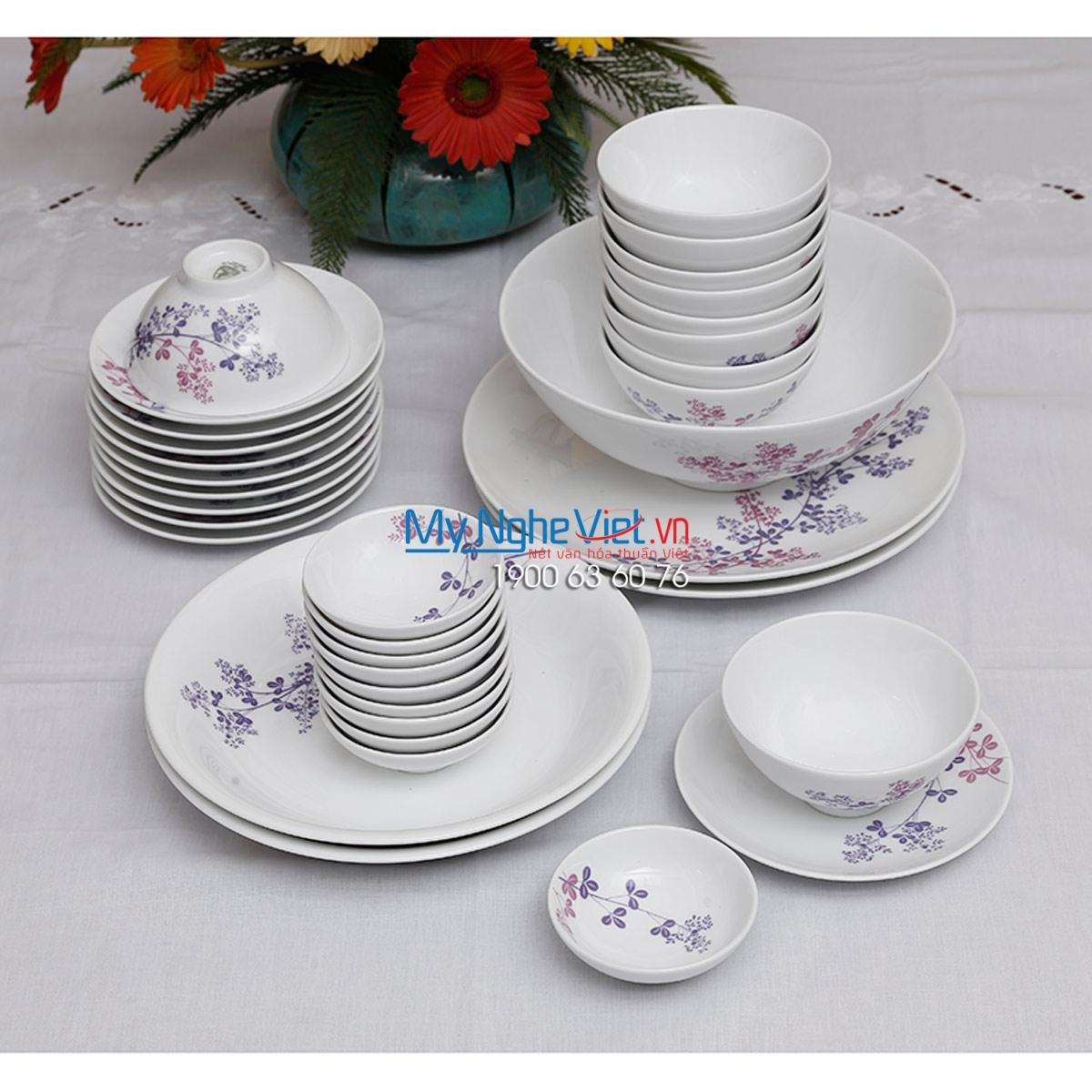 Bộ chén dĩa bàn ăn – Daisy – Cỏ Tím (10 người) - MNV - 36267