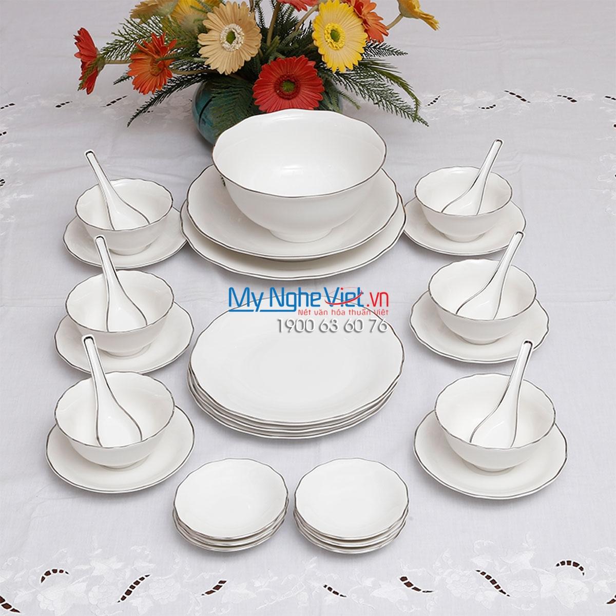 Bộ chén dĩa bàn ăn – Đài Các – Chỉ bạch kim - MNV-30181