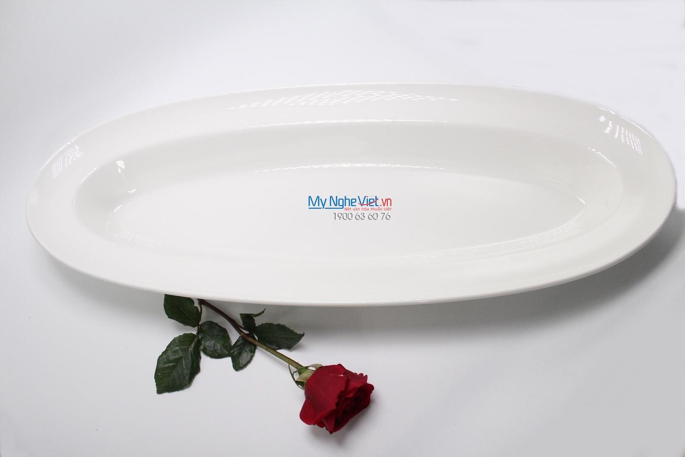 Khay oval vành sâu 60x24 cm trắng ngà - MNV - 316025000