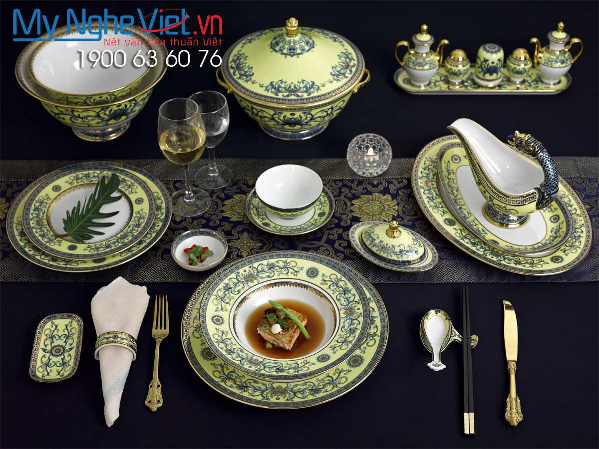Bộ đồ ăn Hoàng Liên 6 người Á-Âu 82 sản phẩm  MNV-8206AA460