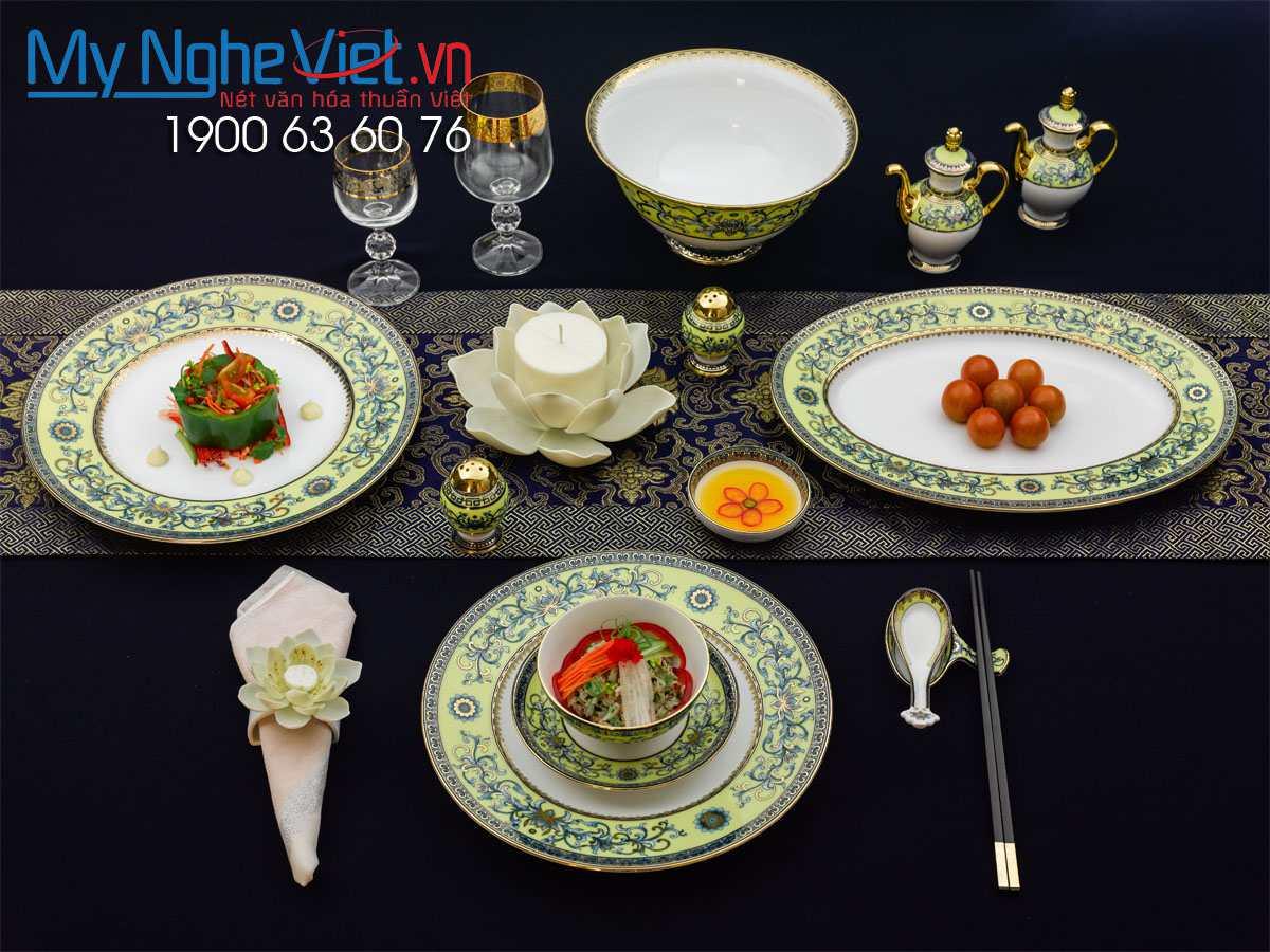 Bộ chén dĩa bàn ăn Hoàng Liên 6 người Châu Á 40 sản phẩm MNV-4006DG460
