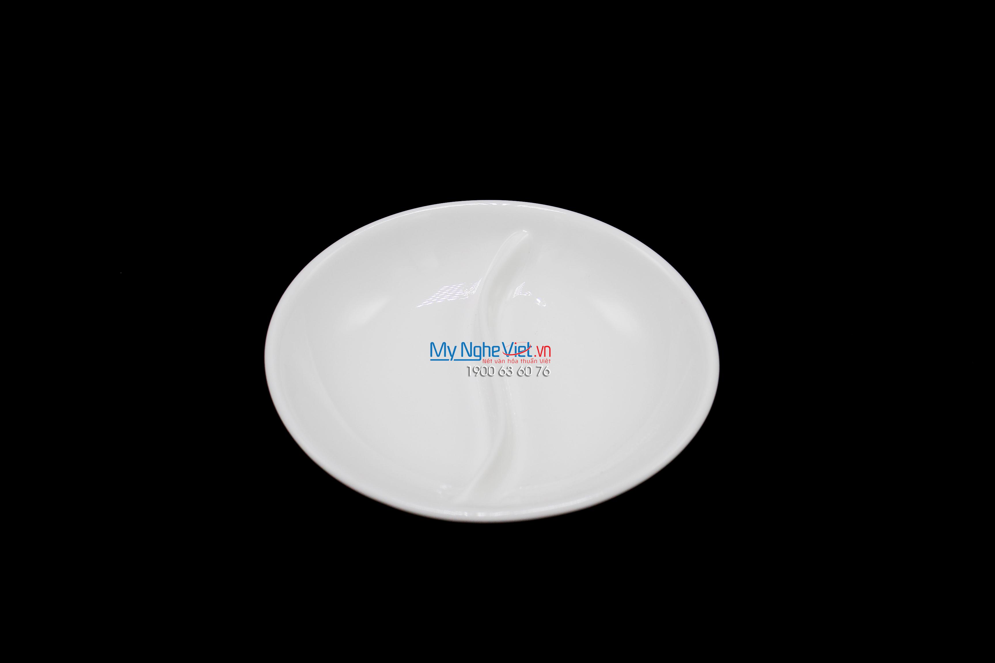 Chén chấm 2 ngăn 10.5 cm trắng ngà - MNV - 231004000