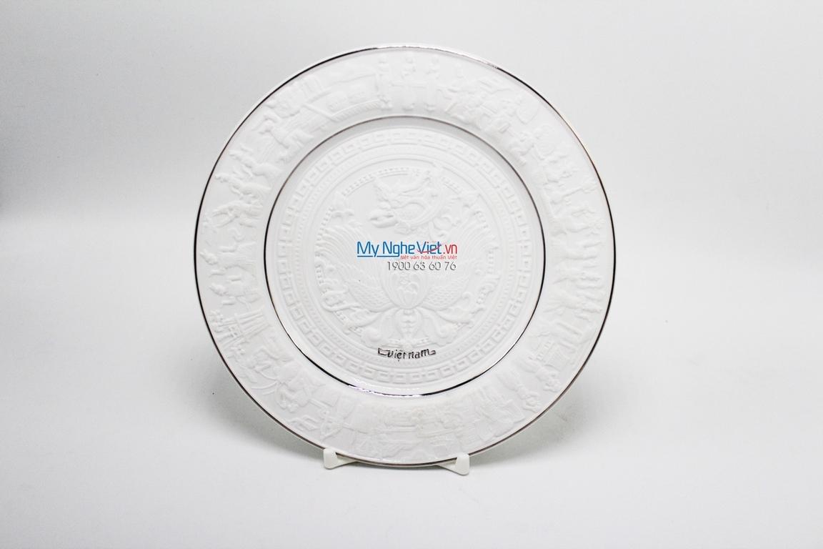 Dĩa tròn 25 cm chỉ bạch kim - MNV - 042583043/25