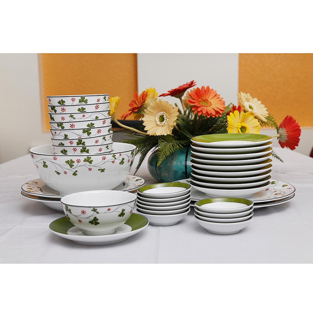 Bộ chén dĩa bàn ăn hoa may mắn 10 người 35 sp - MNV - 36216