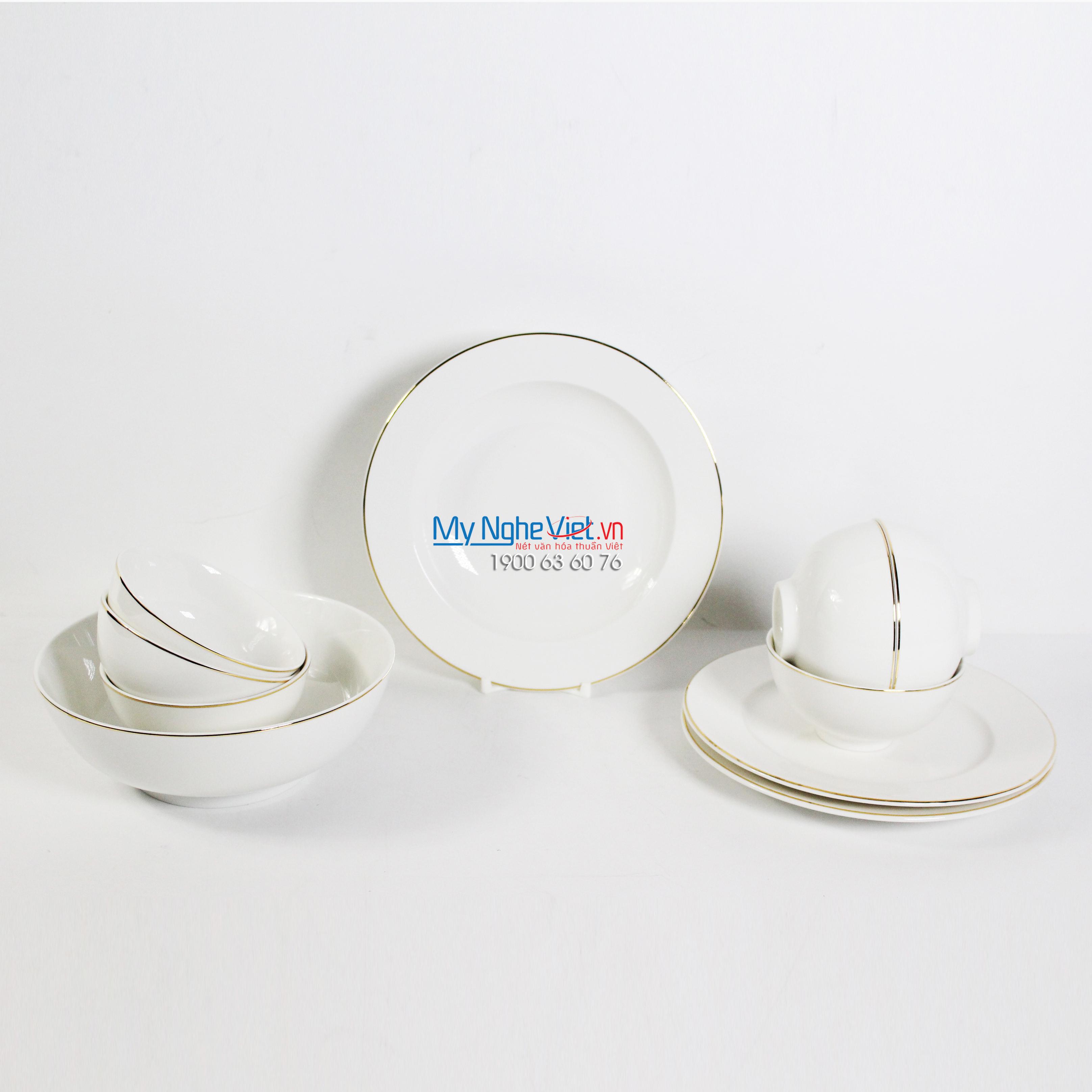 Bộ chén dĩa bàn ăn – Jasmine – Chỉ vàng - MNV-471028014
