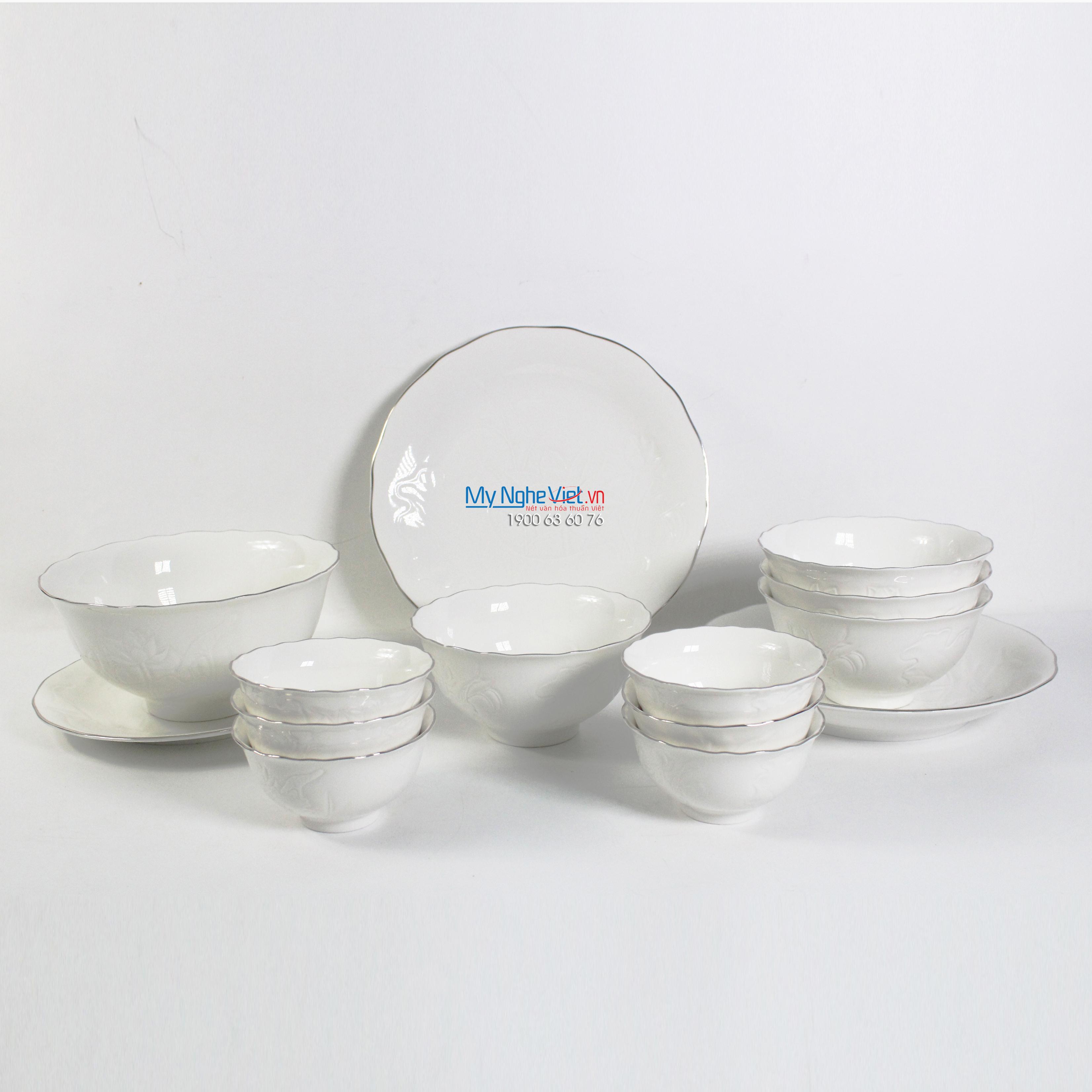 Bộ chén dĩa bàn ăn – Sen – Chỉ bạch kim - MNV-351428043