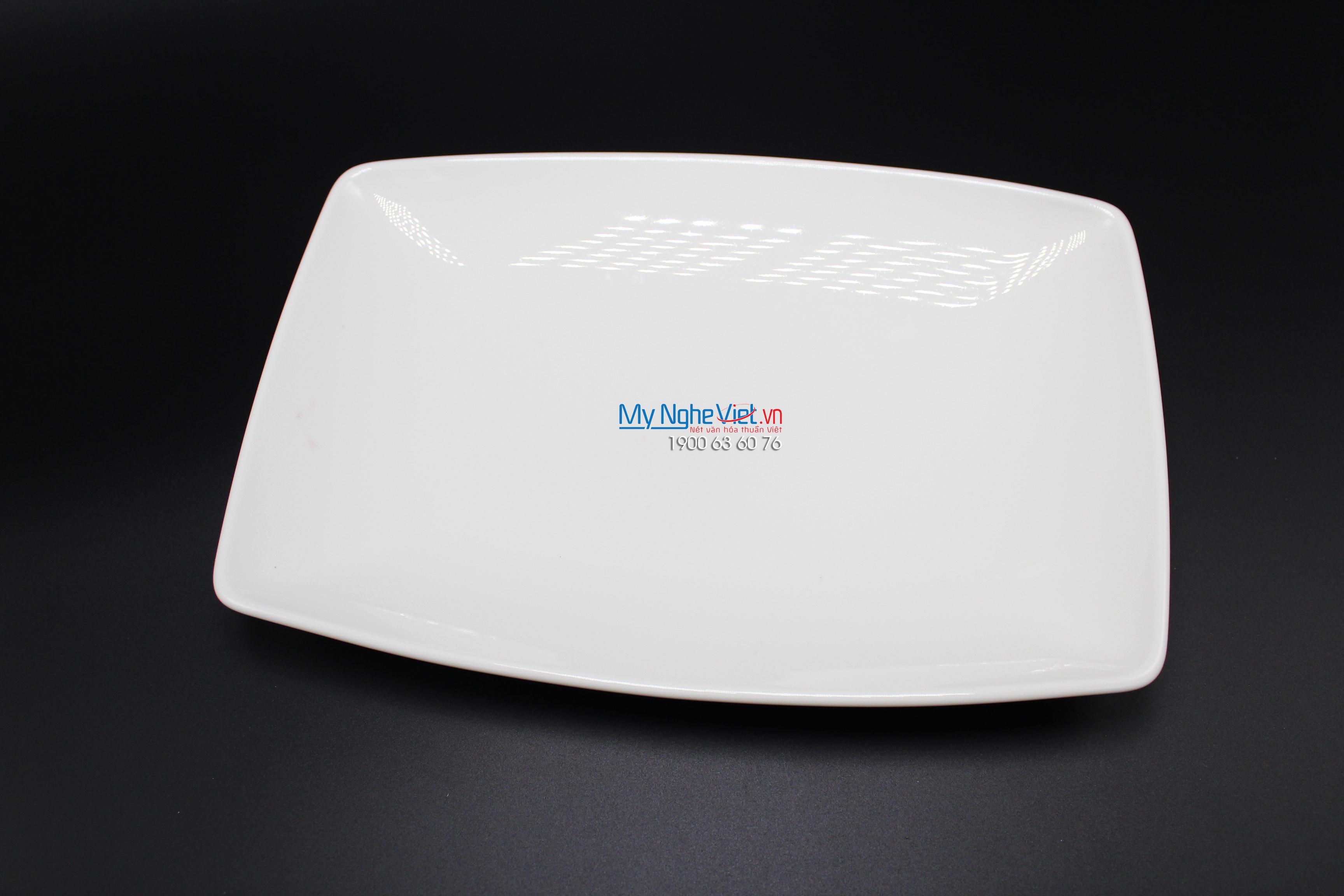 Dĩa chữ nhật phẳng 27x18 cm trắng ngà - MNV - 432720000