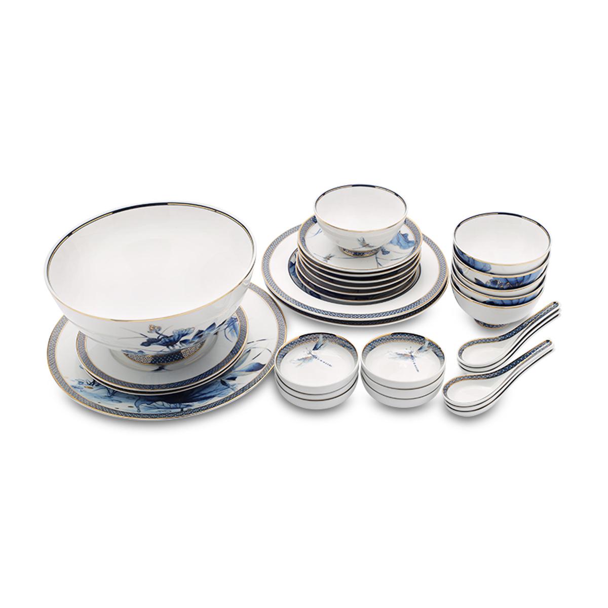 Bộ chén dĩa bàn ăn 30 sp sen vàng - MNV - 30345