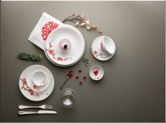 Bộ chén dĩa bàn ăn – Daisy – Hồng đào - MNV-461028410